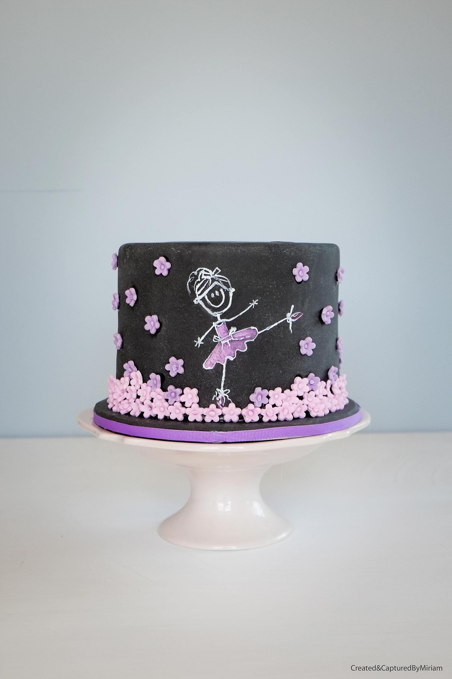 Ballerina Chalboard Cake