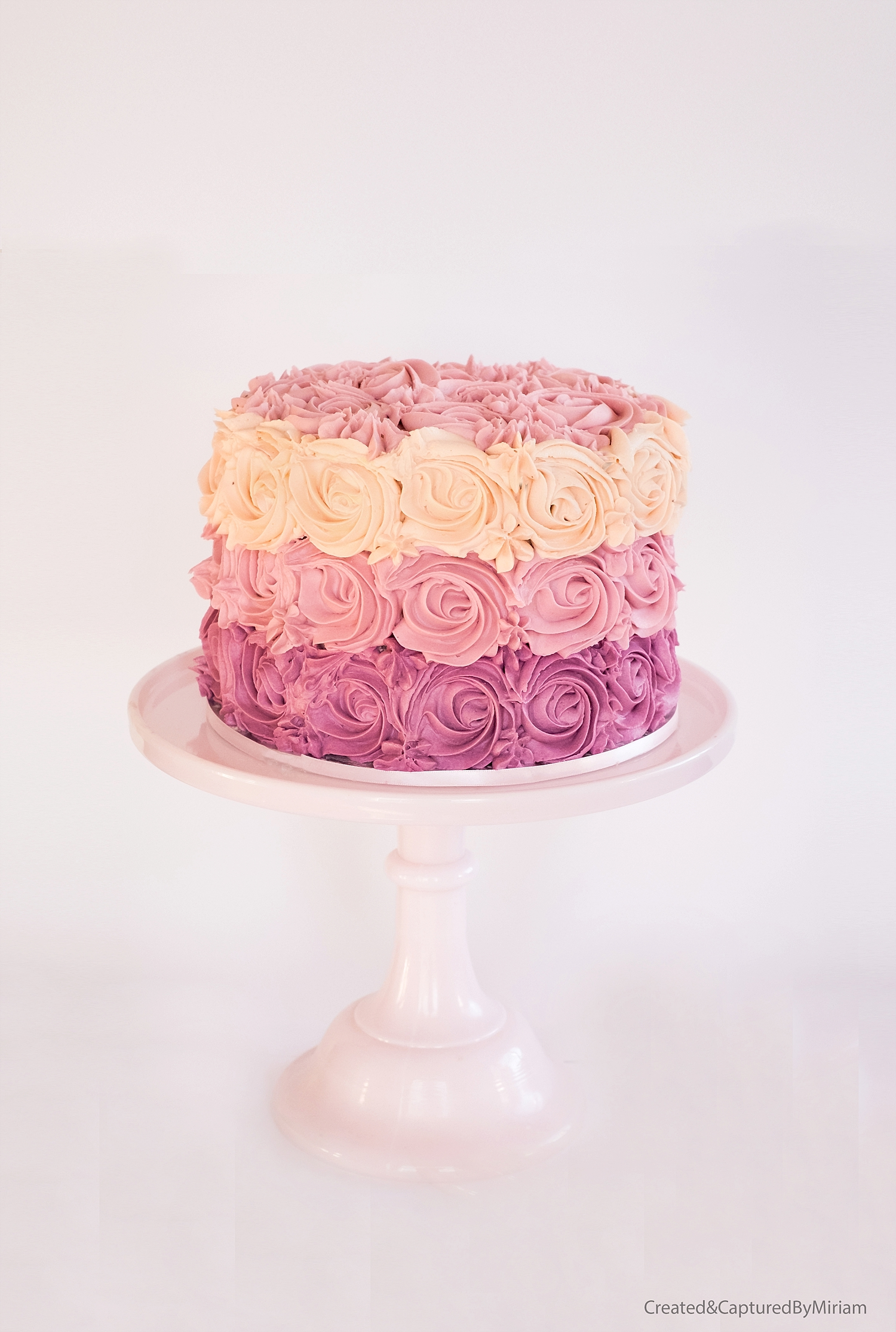 Ombre Pink Buttercream Swirl Cake