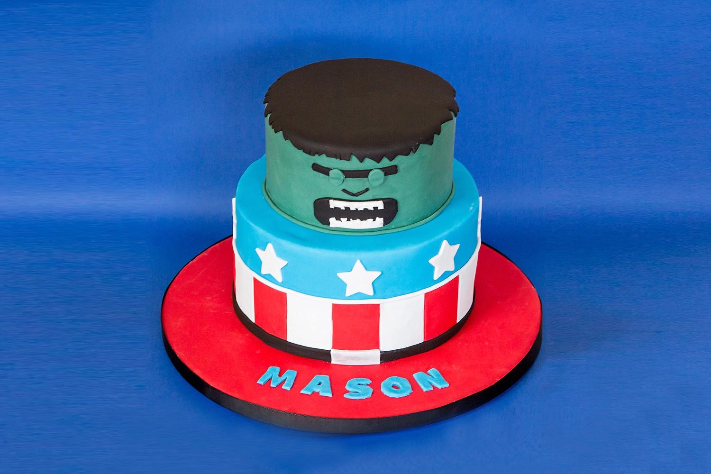 Captain American and Hulk Cake