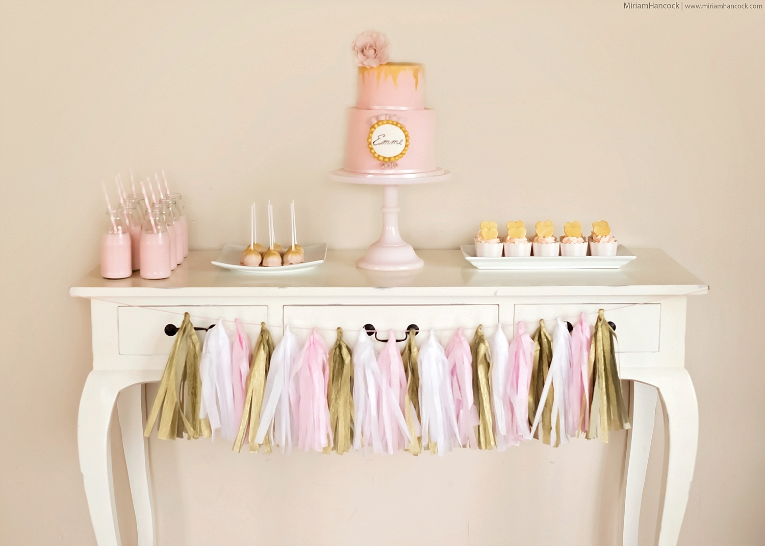 Pink, White and Gold Dessert Table