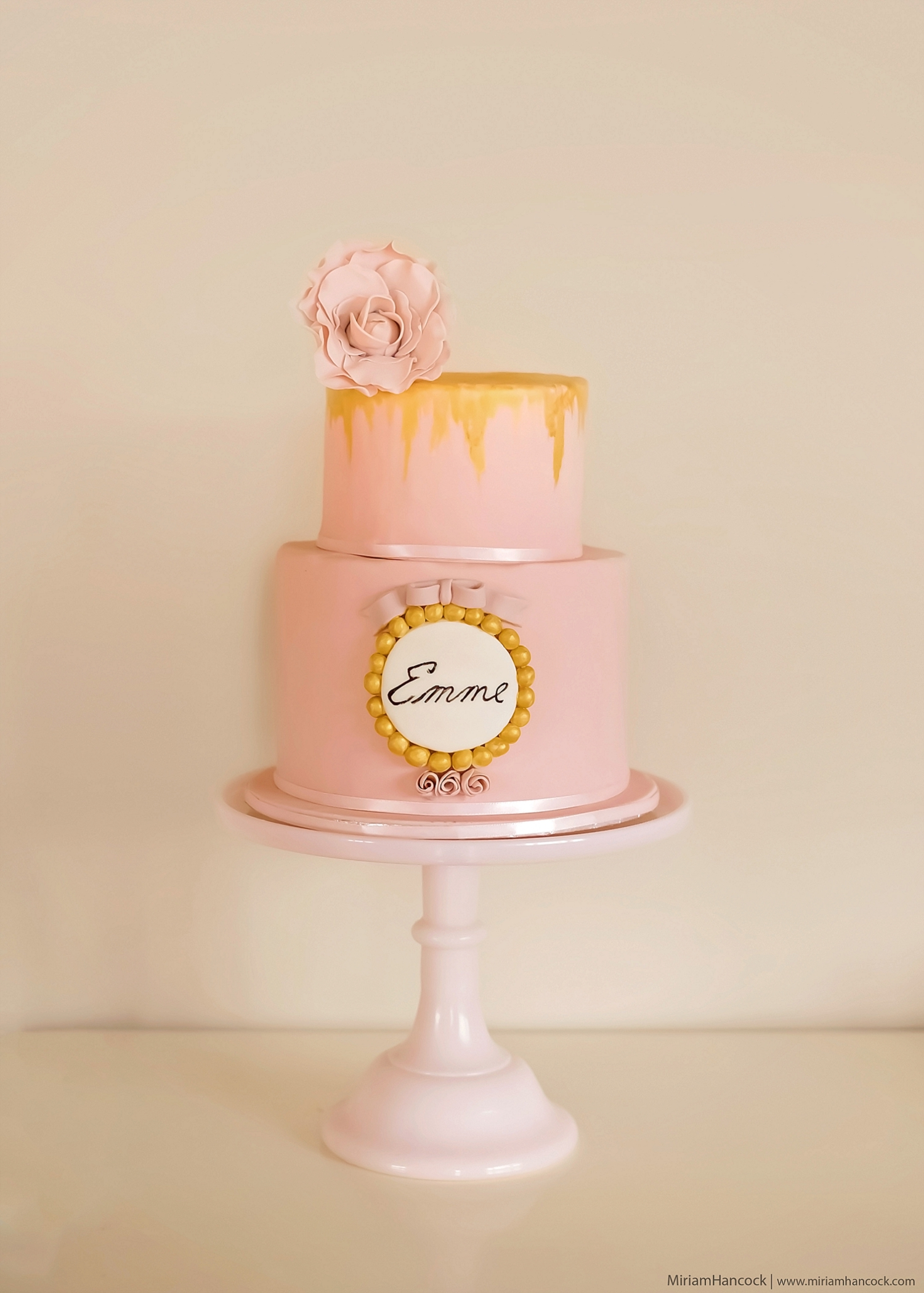 Pink, white and Gold Cake