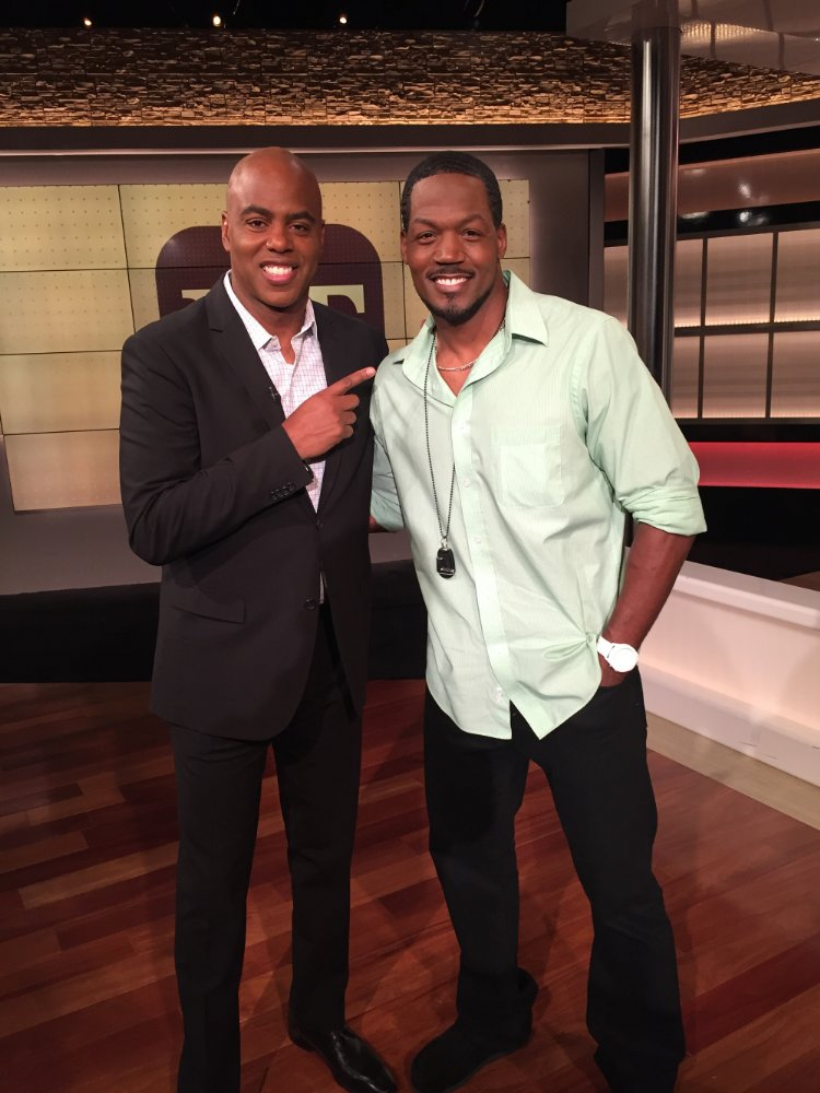 TC Stallings with Entertainment Tonight's Kevin Frazier after War Room goes #1 at the Box Office in 2015.