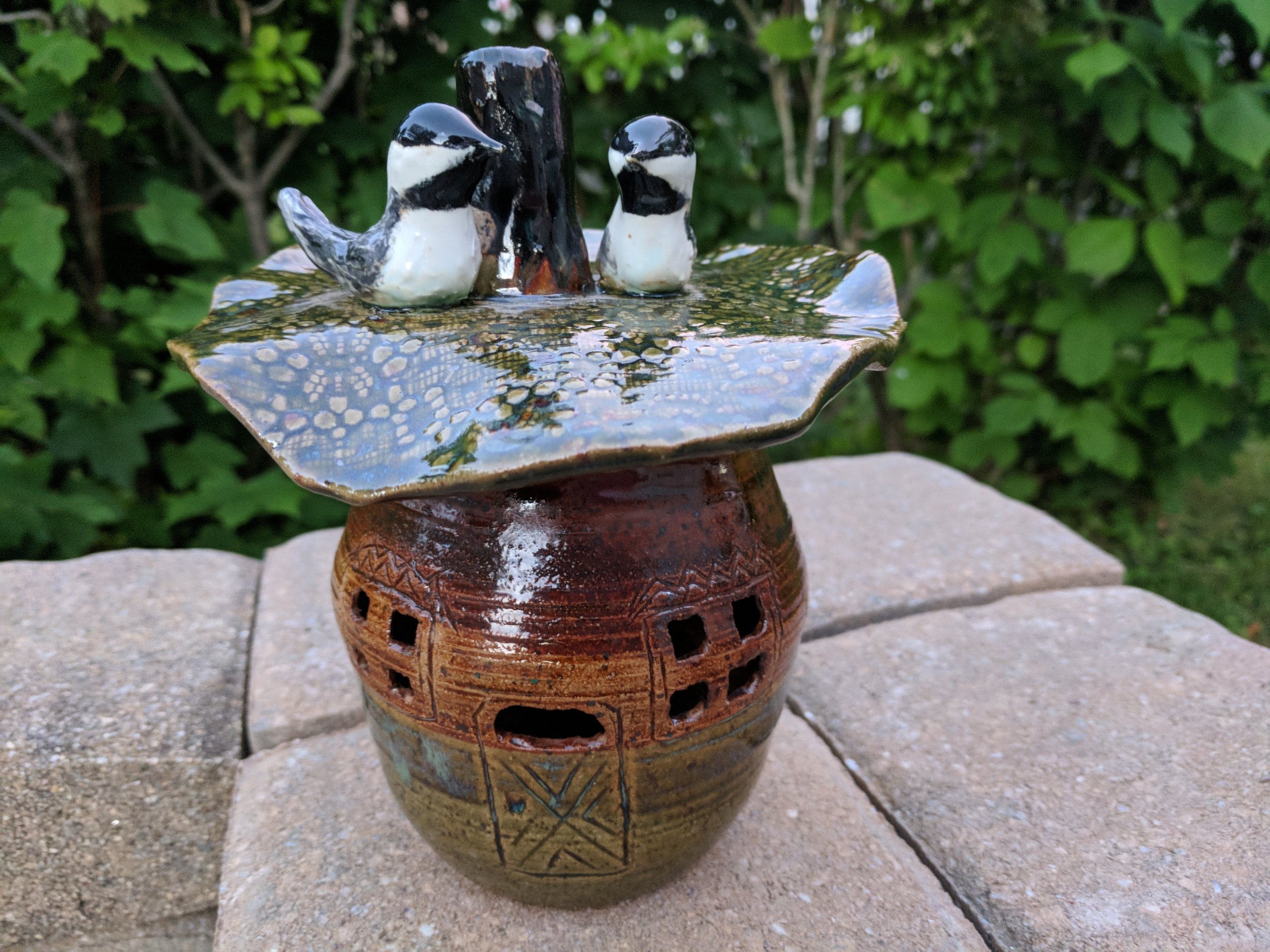 Chickadee candle holder
