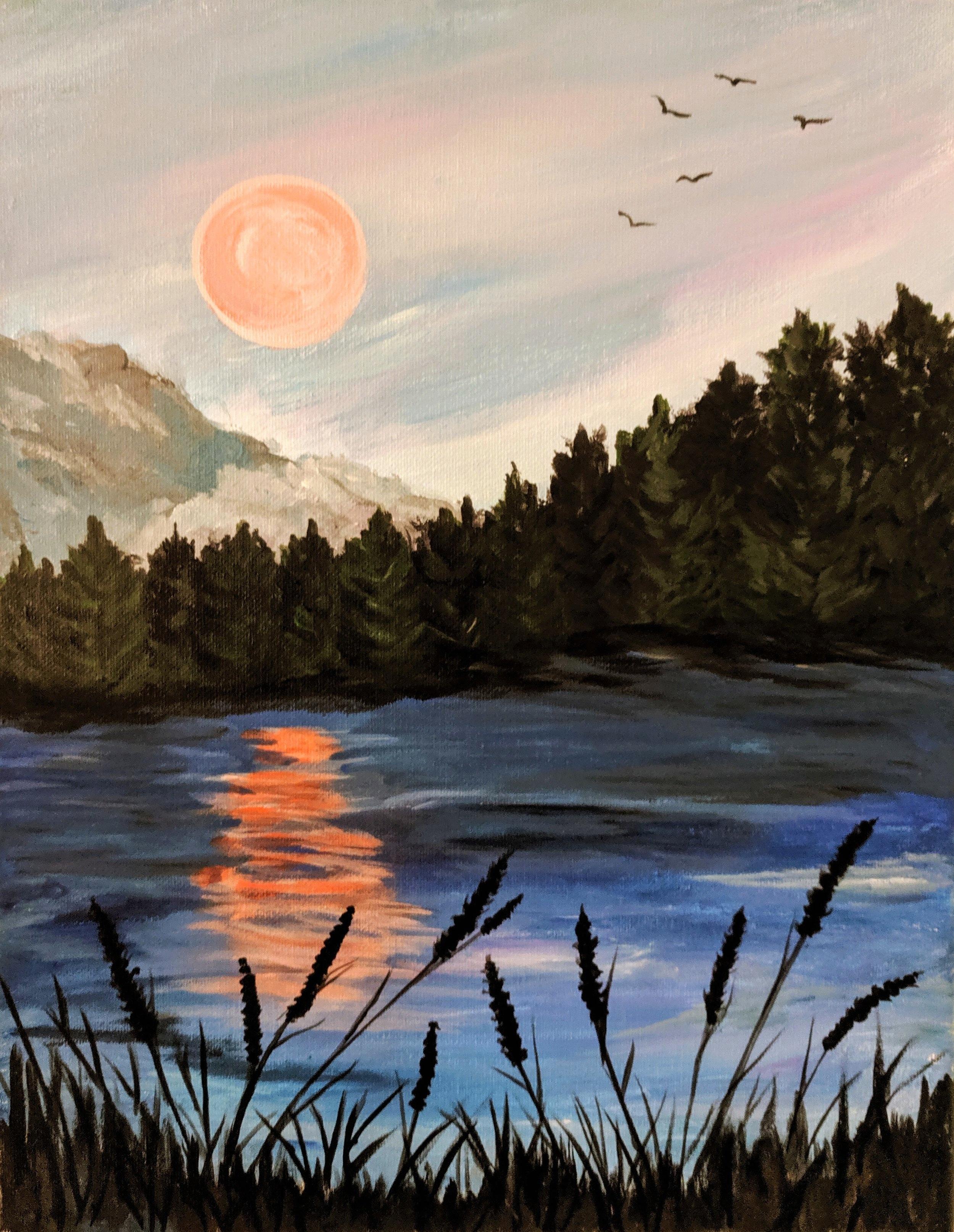 Lakeside harvest moon