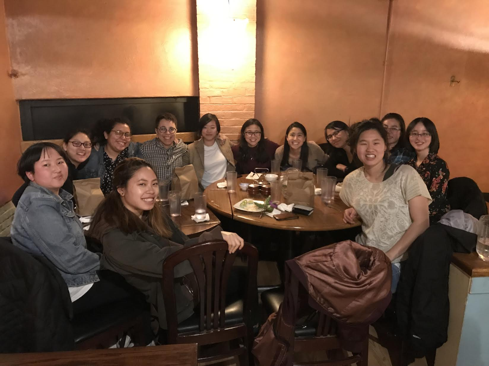 CCI Boston plus some additional adoptee friends meet up for dinner after the Let's Talk! conference, March 2019.