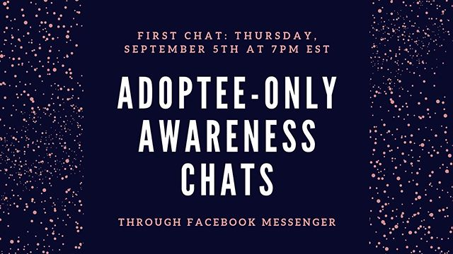 Did you know we hold adoptee-only chats to encourage communication, critical thinking, and support among the adoptee community? It's our hope that we can facilitate a safe place to talk openly and develop friendships. Our first chat is coming up! For more information, check the Adoptee-Only FB group!