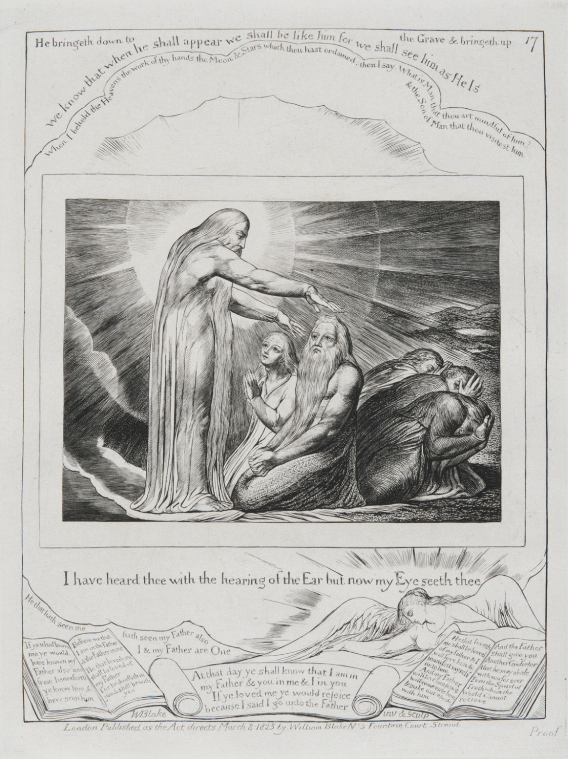 I Have Heard Thee with the Hearing of the Ear But Now My Eye Seeth Thee  , 1825-1826, by William Blake, English from the  Philadelphia Museum of Art