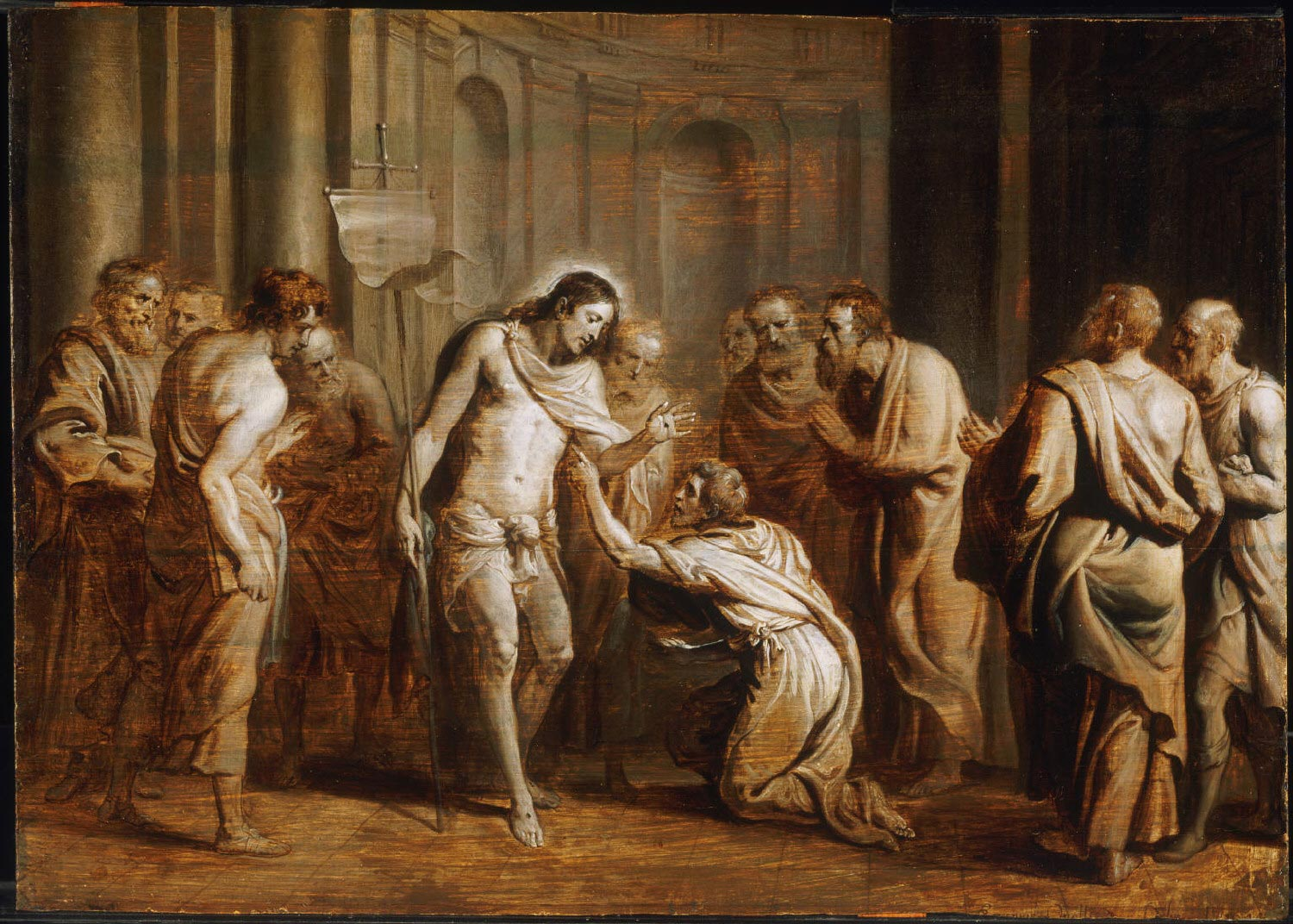 Saint Thomas Touching Christ's Wounds  , 1644, by Erasmus Quellinus II, Flemish from the  Philadelphia Museum of Art