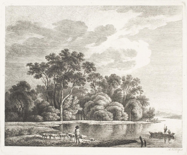 Shepherd beside a River  , early 19th century, by Anton Kölbl, Austrian from the  Philadelphia Museum of Art