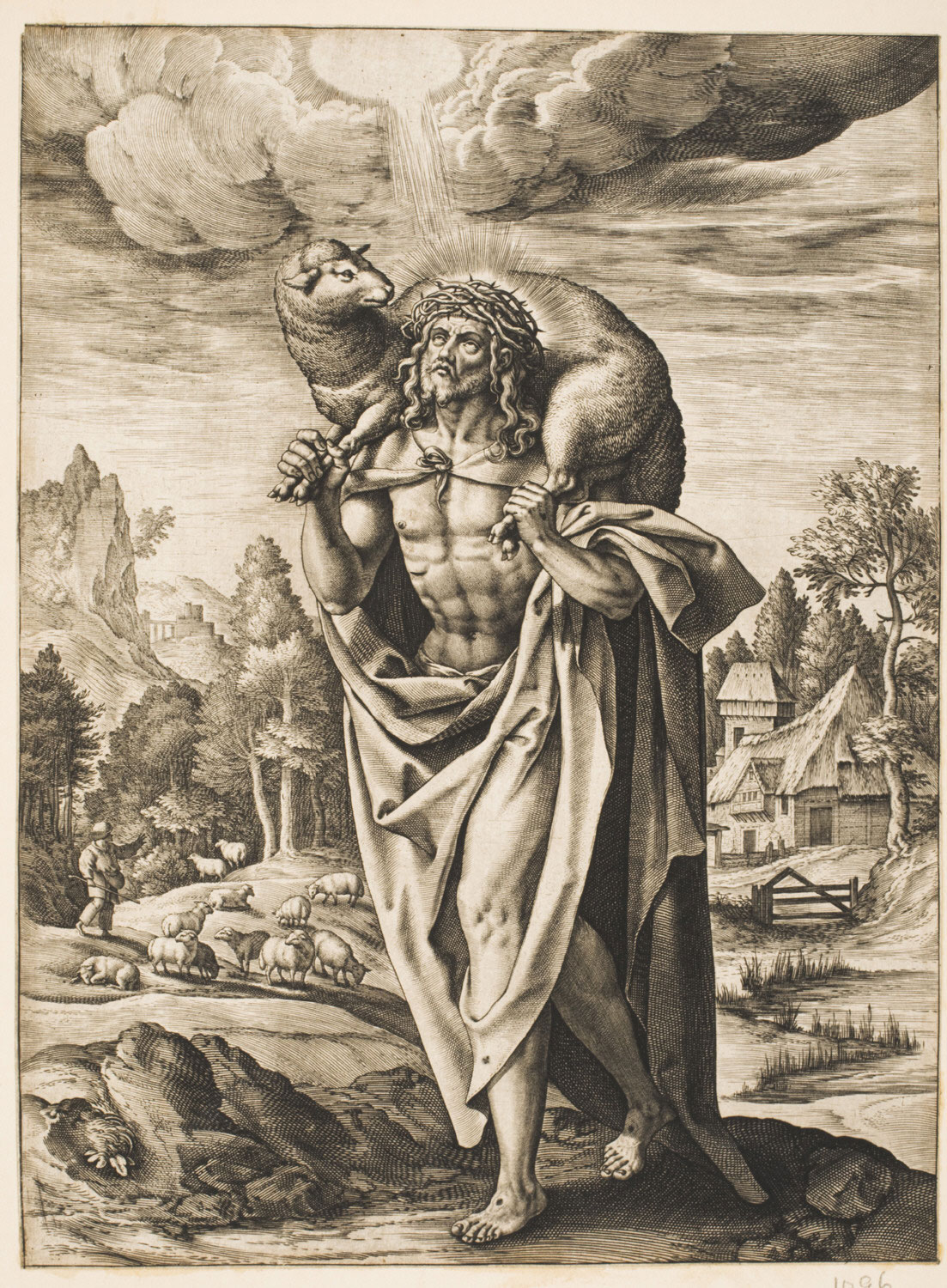 The Good Shepherd  , Late 16th - early 17th century, by Hieronymus Wierix, Flemish from the  Philadelphia Museum of Ar t