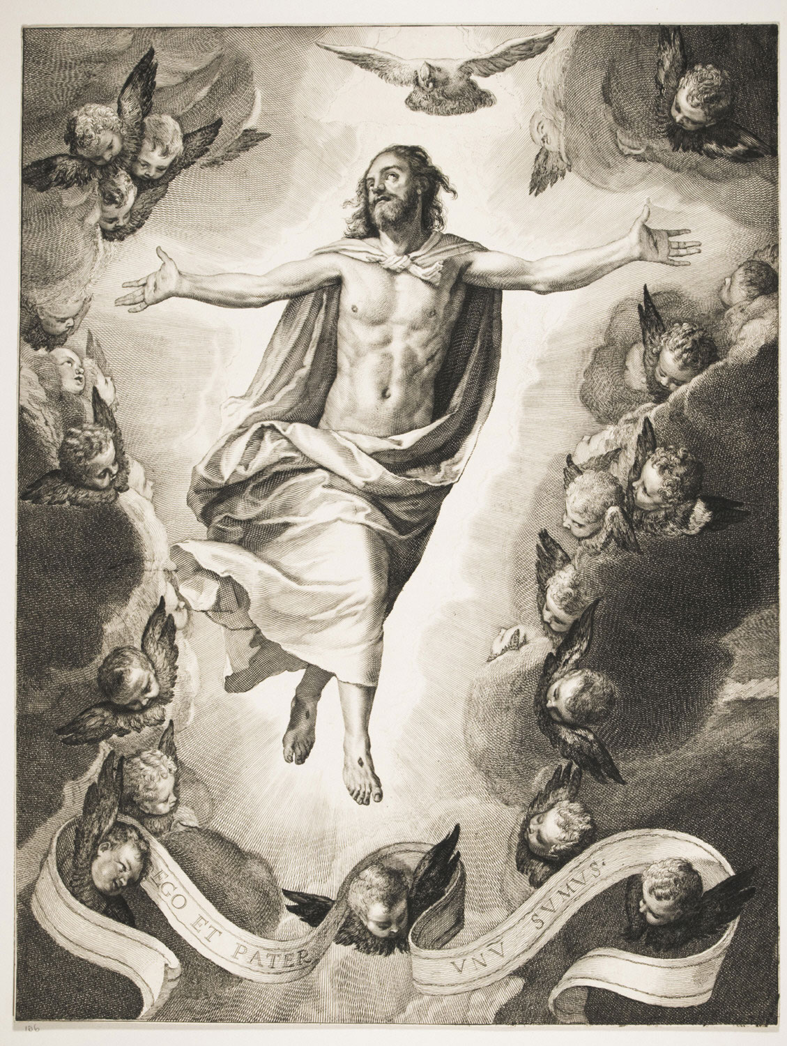Ascension of Christ  , c. 1655, by Cornelis de Visscher, Dutch from the  Philadelphia Museum of Art