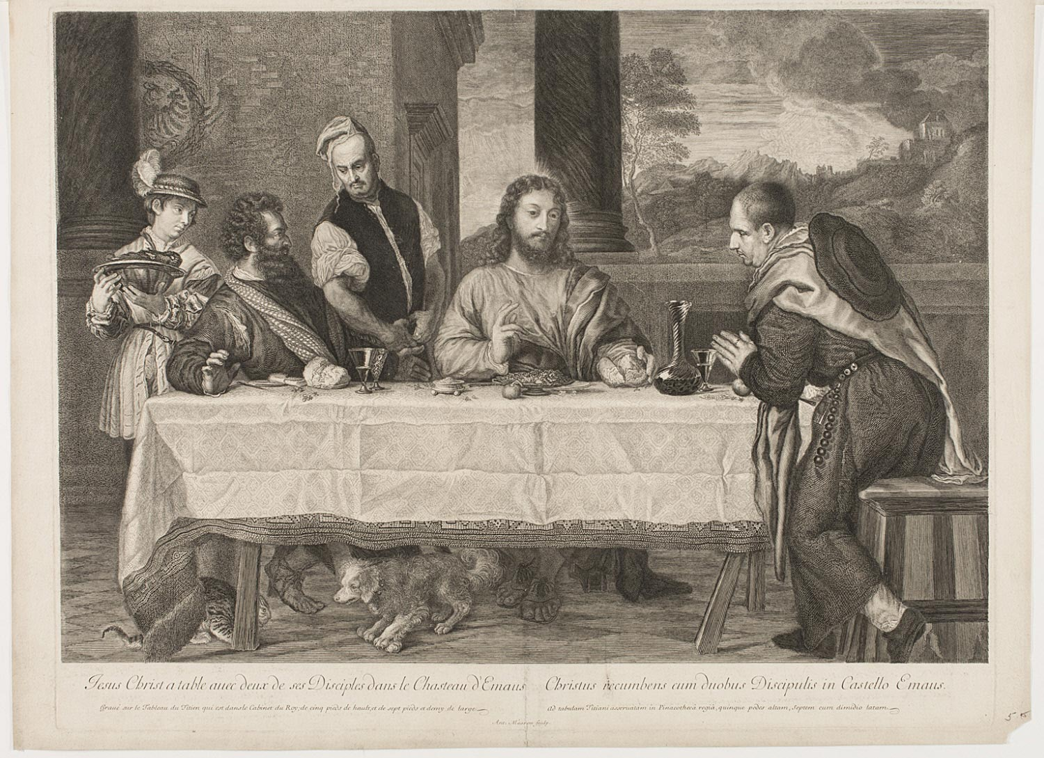 Jesus Christ a table avec deux de ses disciples dans le chasteau d'Emaus  , Late 17th century, by Antoine Masson, French from the  Philadelphia Museum of Art