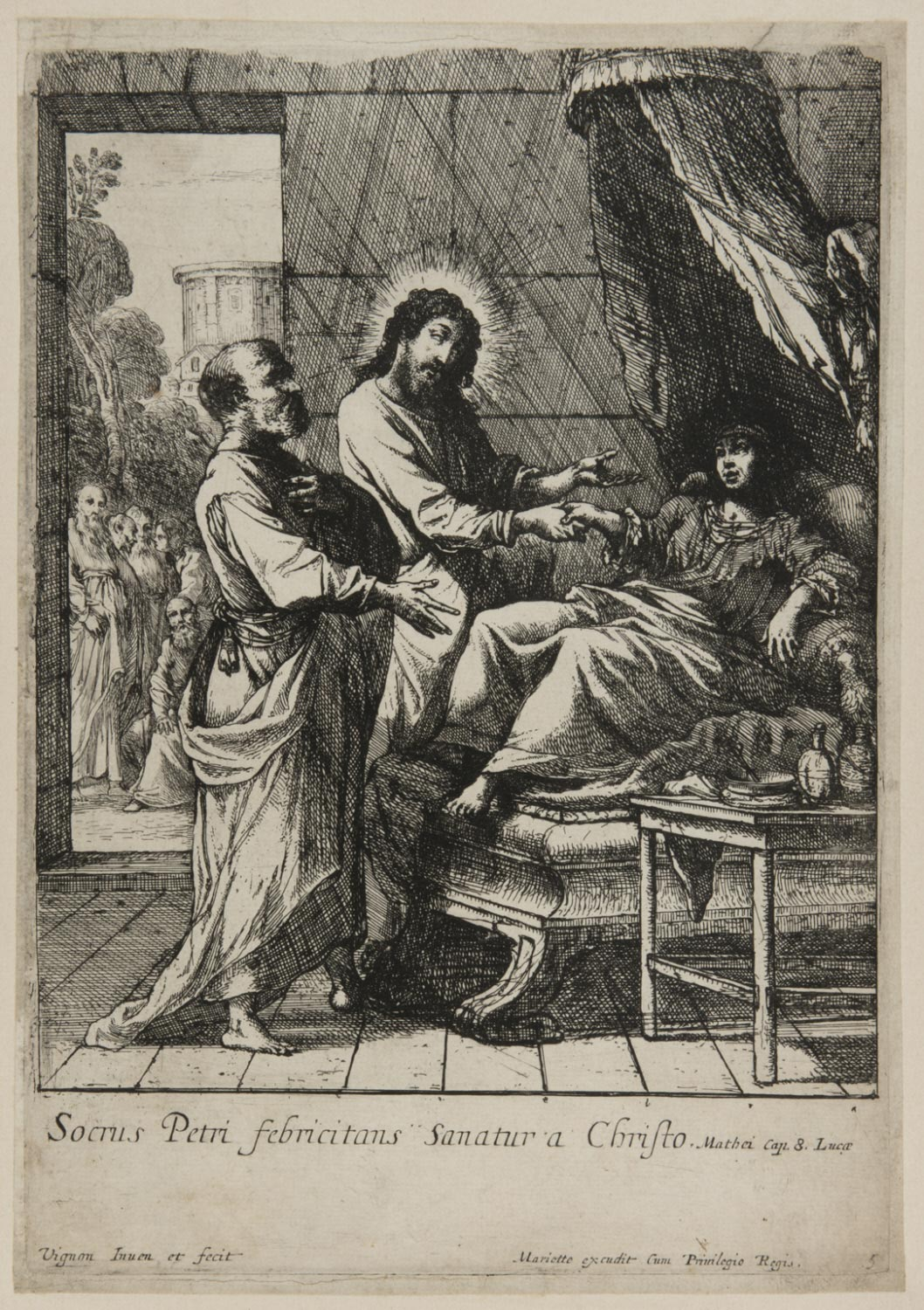 Christ Healing the Mother-in-Law of Saint Peter  , 1630s, by Claude Vignon, French from the  Philadelphia Museum of Art