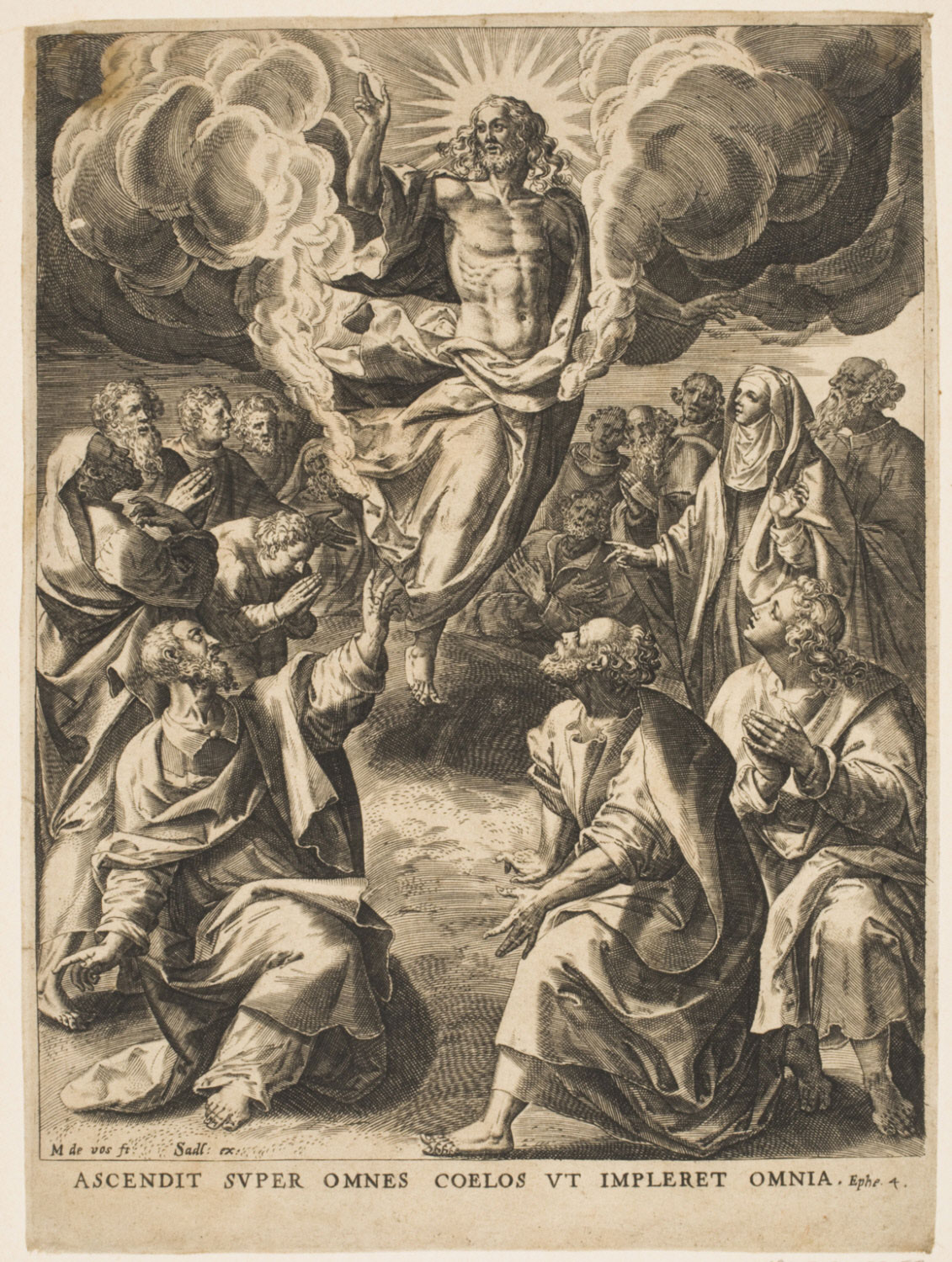 The Ascension, 1587, by Jan Sadeler I, Flemish from the  Philadelphia Museum of Art