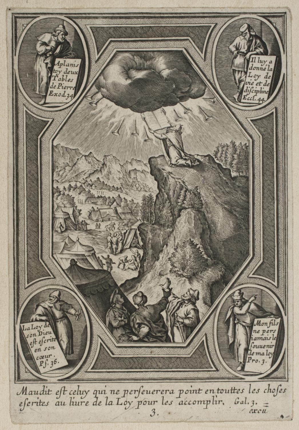Moses Receiving the Tablets of the Law  , 17th Century, Artist Unknown, French from the  Philadelphia Museum of Art