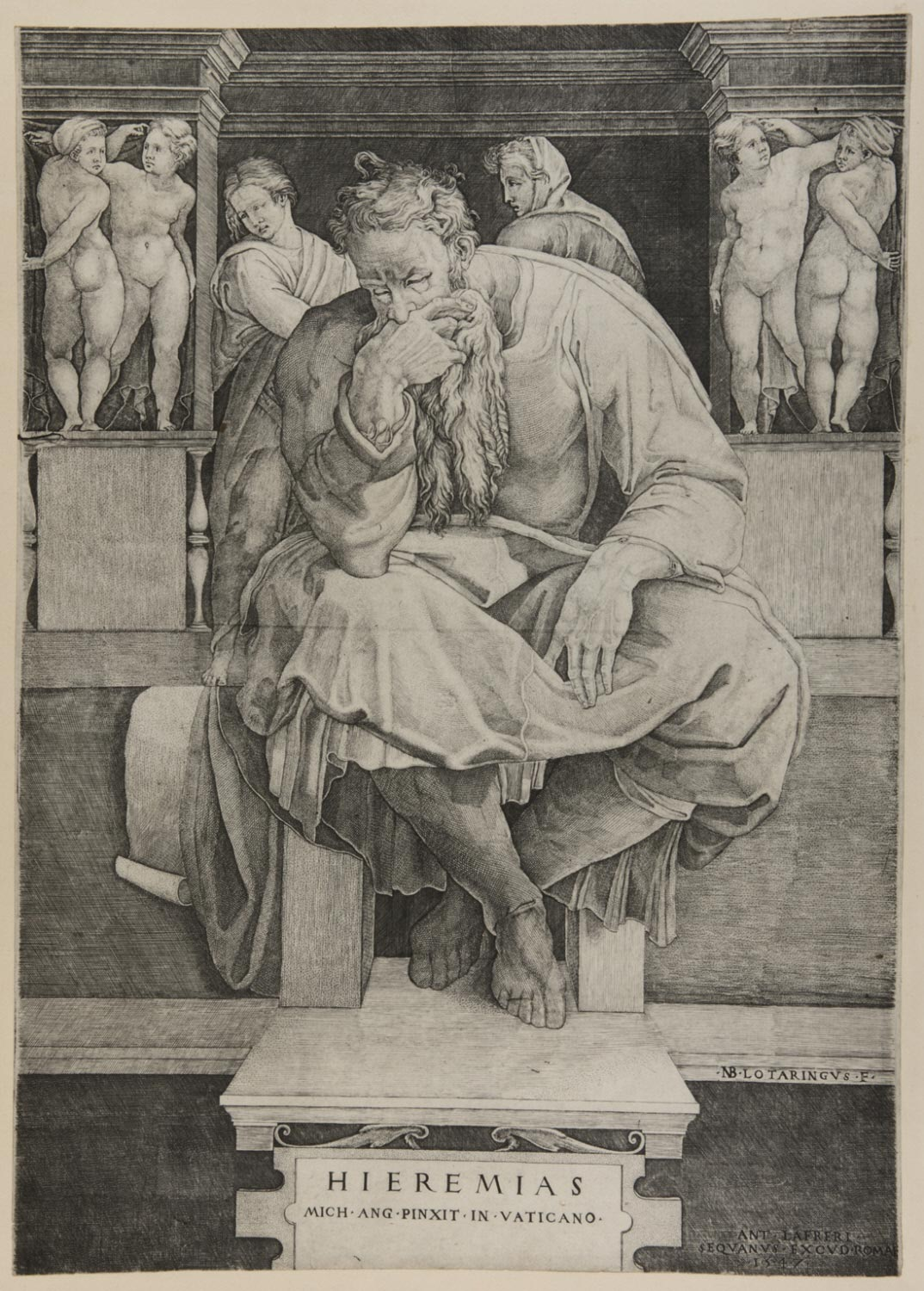 The Prophet Jeremiah  , 1547, by Nicolas Beatrizet, French from the  Philadelphia Museum of Art
