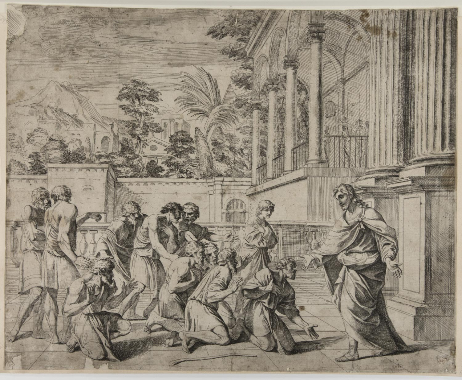 Joseph Welcoming His Brothers in Egypt  , mid-17th Century, by Francesco Giovane, Italian from the  Philadelphia Museum of Art