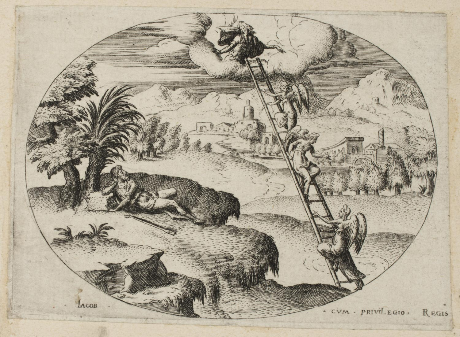Jacob's Dream (Jacob's Ladder)  , 1561, by Étienne Delaune, French from the  Philadelphia Museum of Art