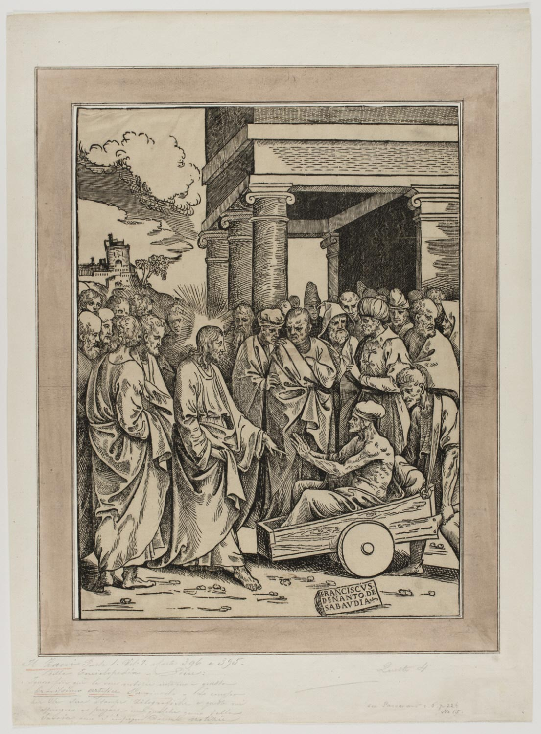 Christ Healing the Paralytic  ,mid-16th Century, by Francesco de Nanto, Italian from the  Philadelphia Museum of Art