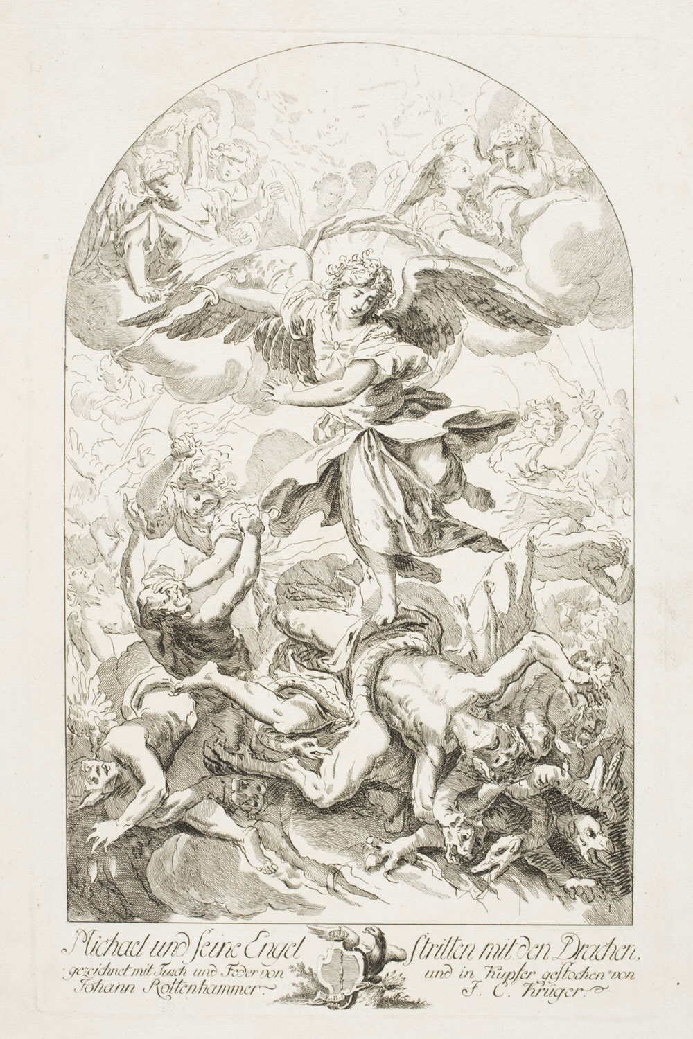 The Archangel Michael Slays the Dragon  , c. 1770, by Johann Conrad Krüger, German from the  Philadelphia Museum of Art