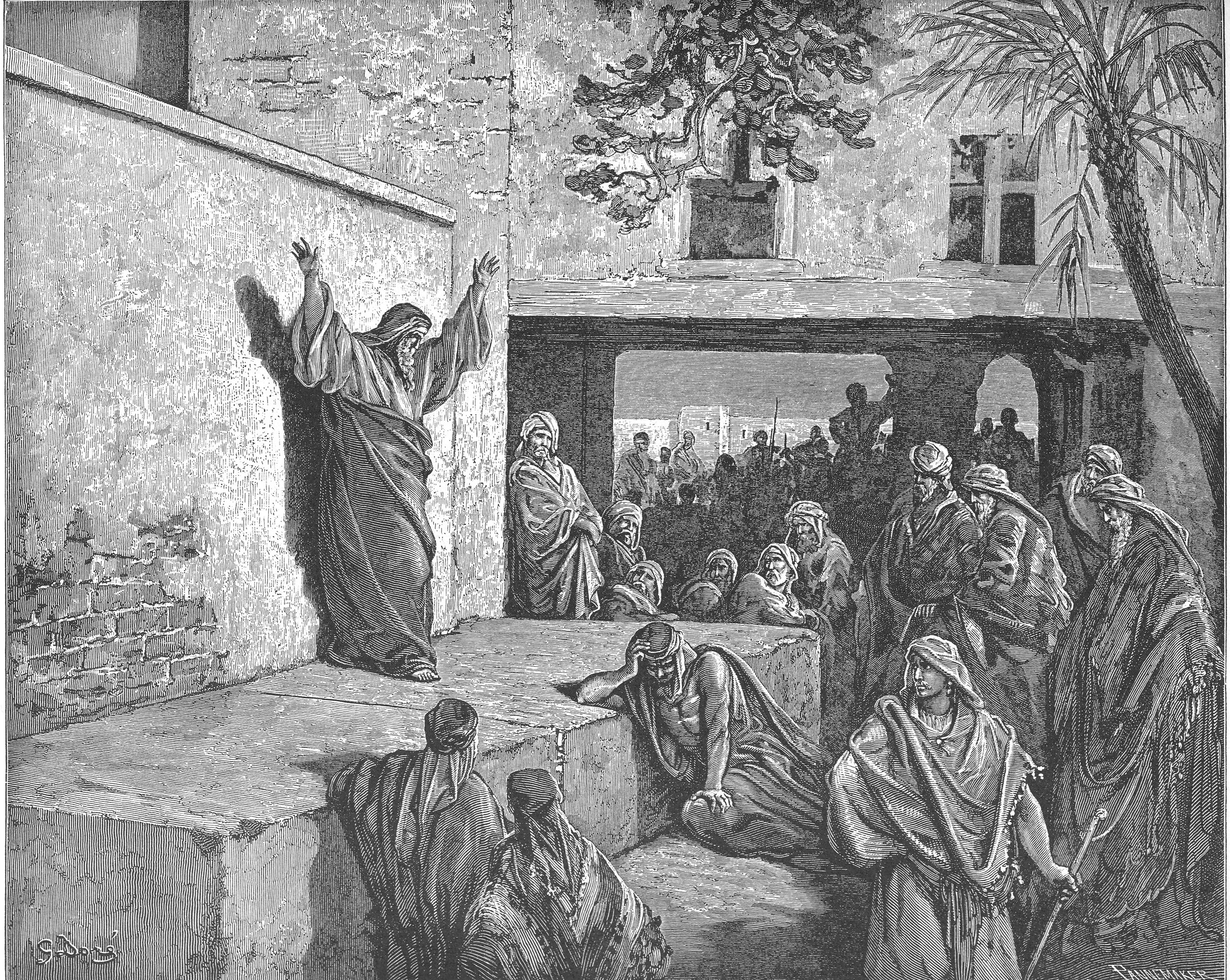 Micah Exhorts the Israelites to Repent  , 1866, by Gustave Doré, French.  Public Domain