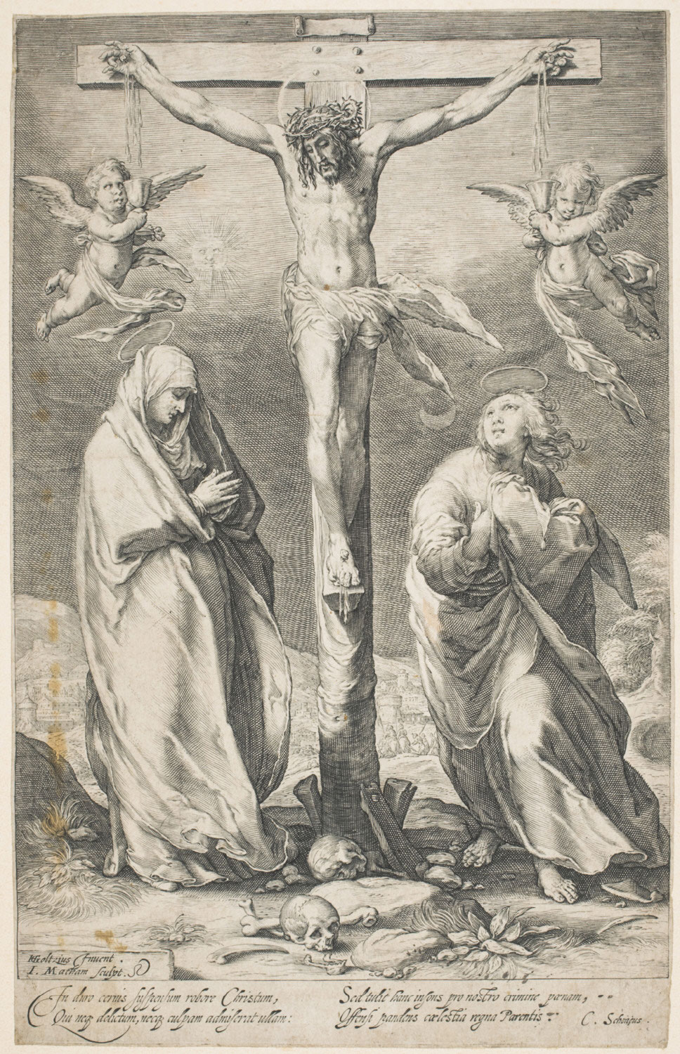 Christ on the Cross with the Virgin and Saint John  , c. 1597, by Jacob Matham, Dutch from the  Philadelphia Museum of Art