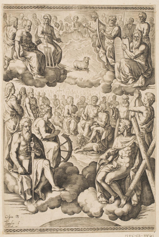 Adoration of the Mystic Lamb  , 1585, by Jan Sadeler I, Flemish.  Philadelphia Art Museum