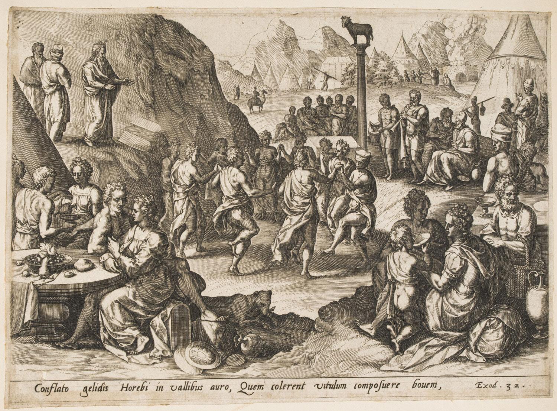 The Dance Around the Golden Calf  , c. 1585, by Jan Sadeler I, Flemish from  Philadelphia Art Museum