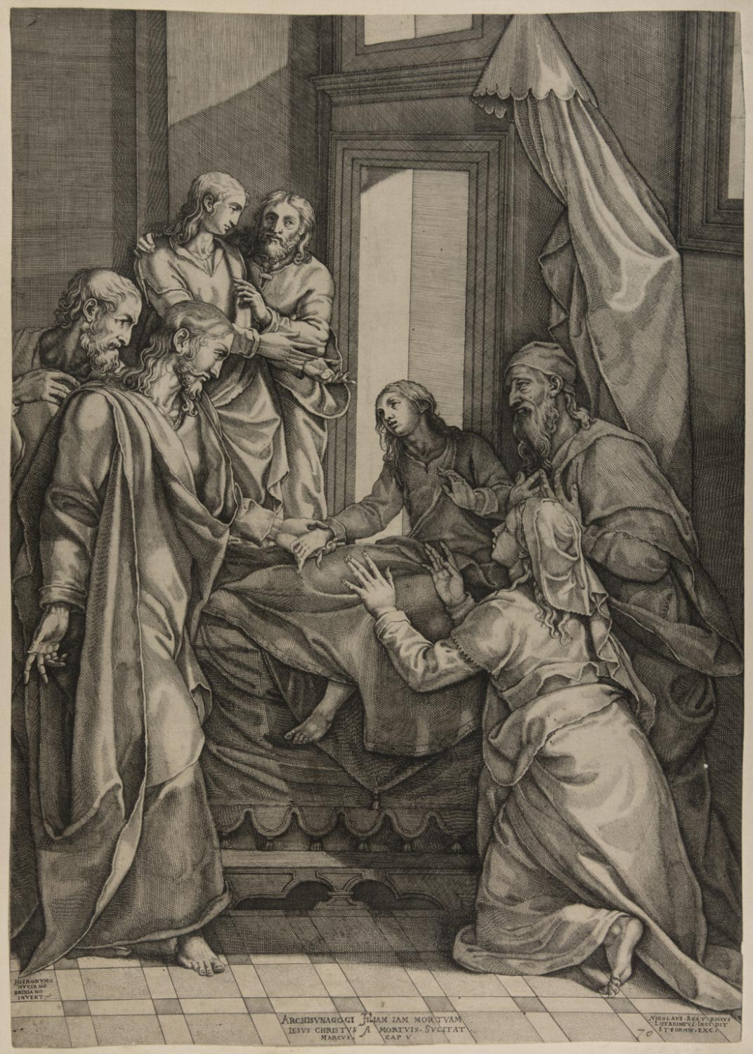 Christ Healing the Daughter of Jairus  , Early 1560s, by Nicolas Beatrizet, French from  Philadelphia Art Museum