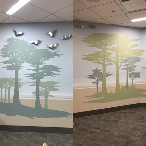 2016   Acrylic on Stucco  Directed by Renee De Cossio and designed in collaboration with Julio Badel  John Muir Hospital  Walnut Creek CA