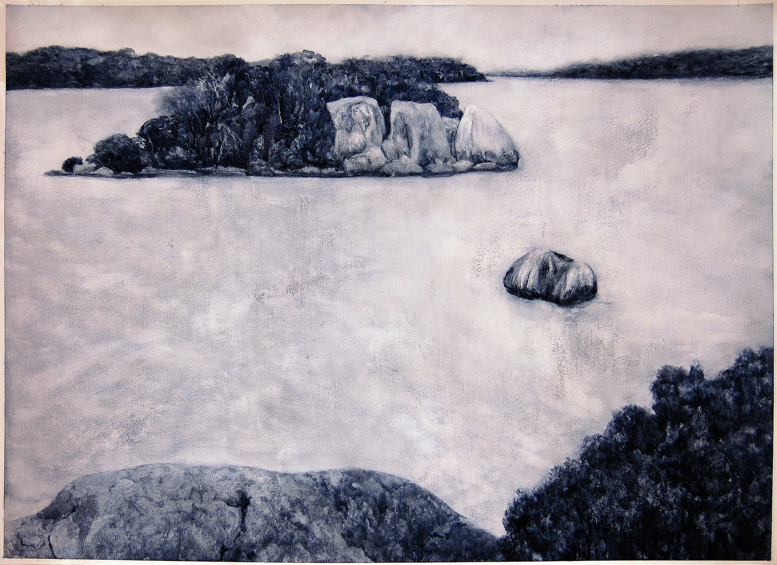 Island (Inlet), 2018, Oil on paper, 85 x 105cm