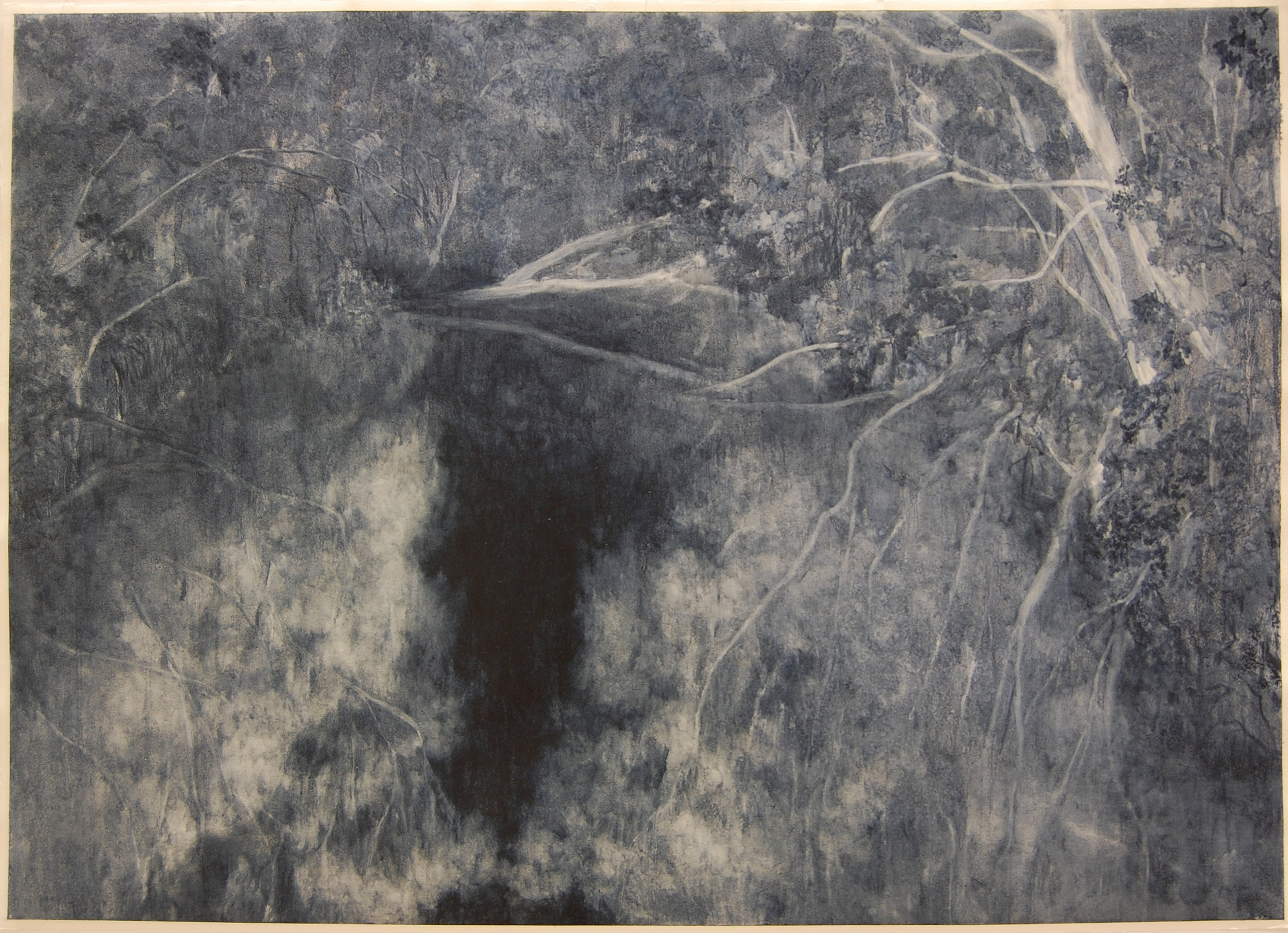 Deep River, 2018, Oil on paper, 85 x 105cm