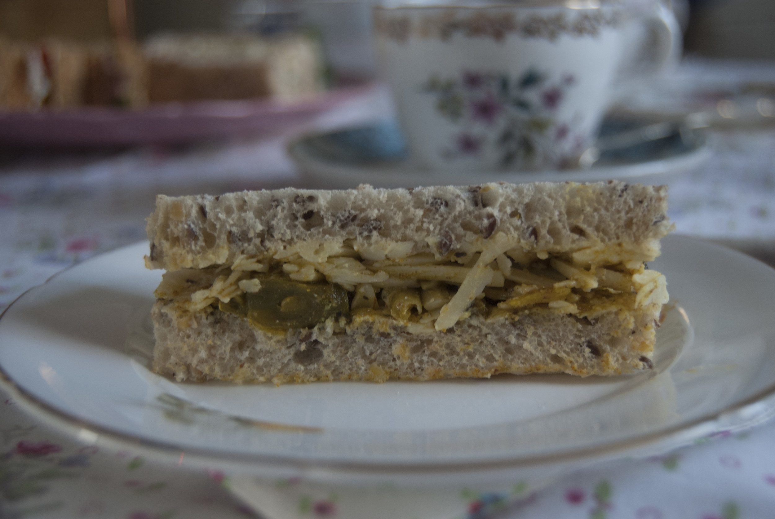 Cheddar cheese and piccalilli finger sandwich