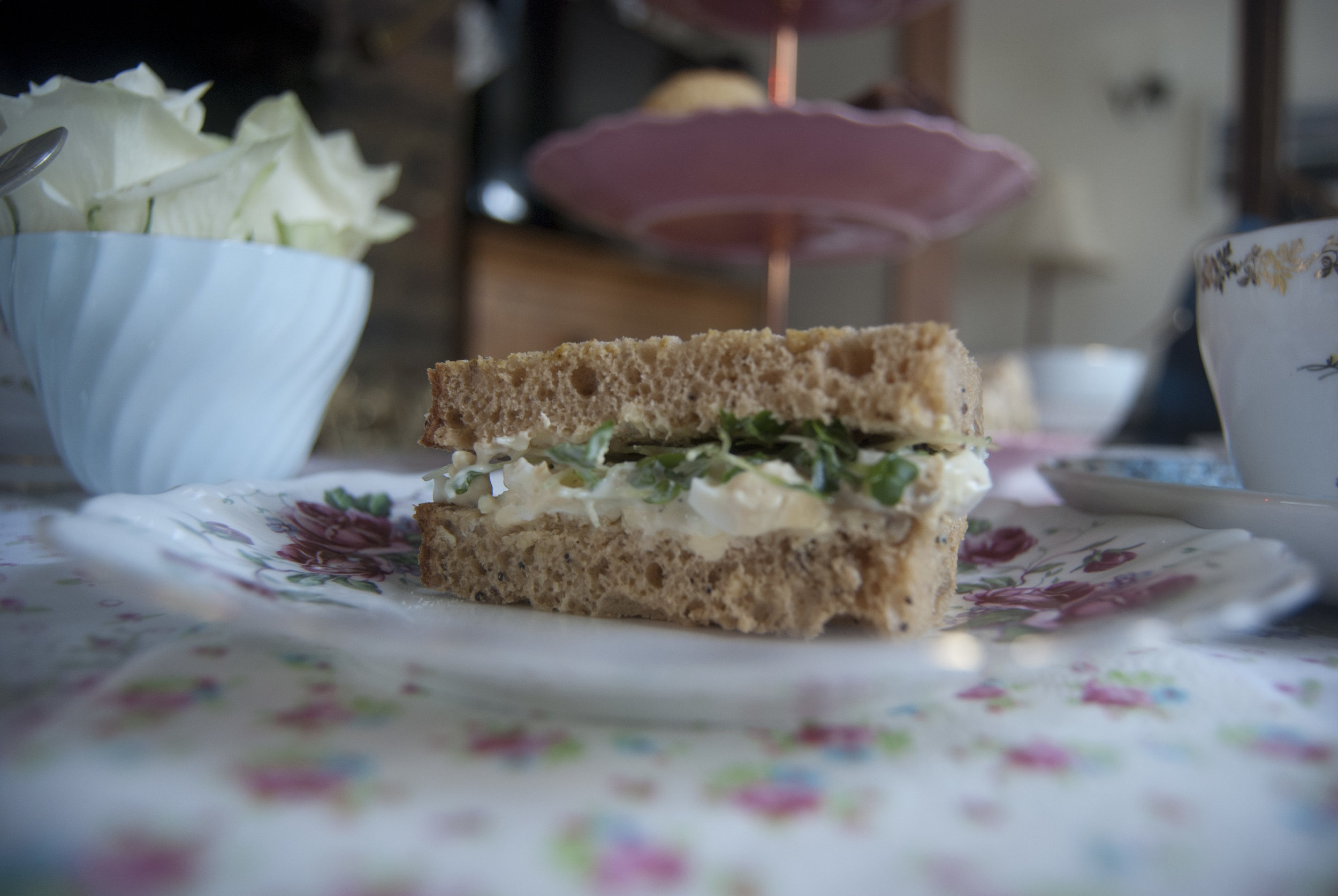 Egg and cress finger sandwich