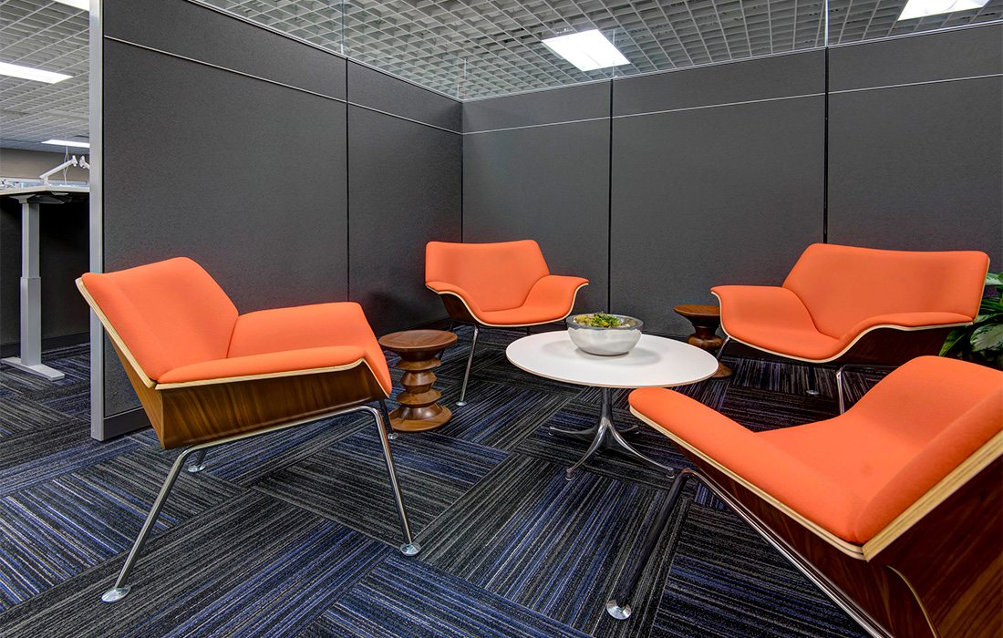 Photo courtesy of Randy Henderson  Collaborative spaces allow people to chat, huddle or co-create in an informal setting.