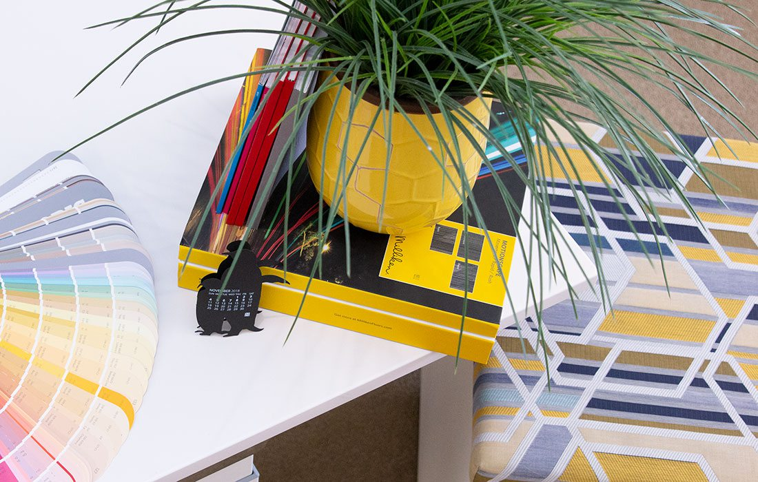 Photo by Linda Huynh  Largely seen as a cheery color, yellow can work as an exciting pop of color in an office environment.