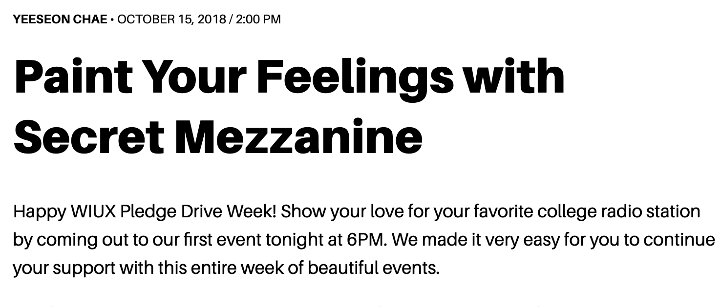 """WIUX writeup on our """"Paint Your Feelings"""" event with WIUX"""