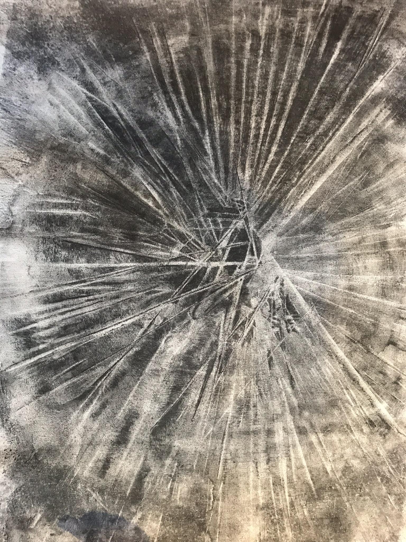 Ingen titel, kol på duk,  ca 65 cm x 90 cm, vinter 2018