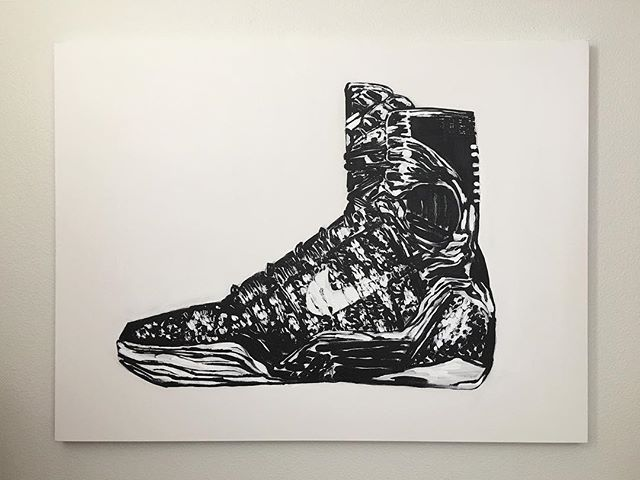 "Commissioned painting I did of  @nike @nikebasketball @kobebryant 48"" X 36"" #blackandwhite #art #kobeshoes #kobebryant #nike #nikeshoes #nikebasketball #nba #supreme"