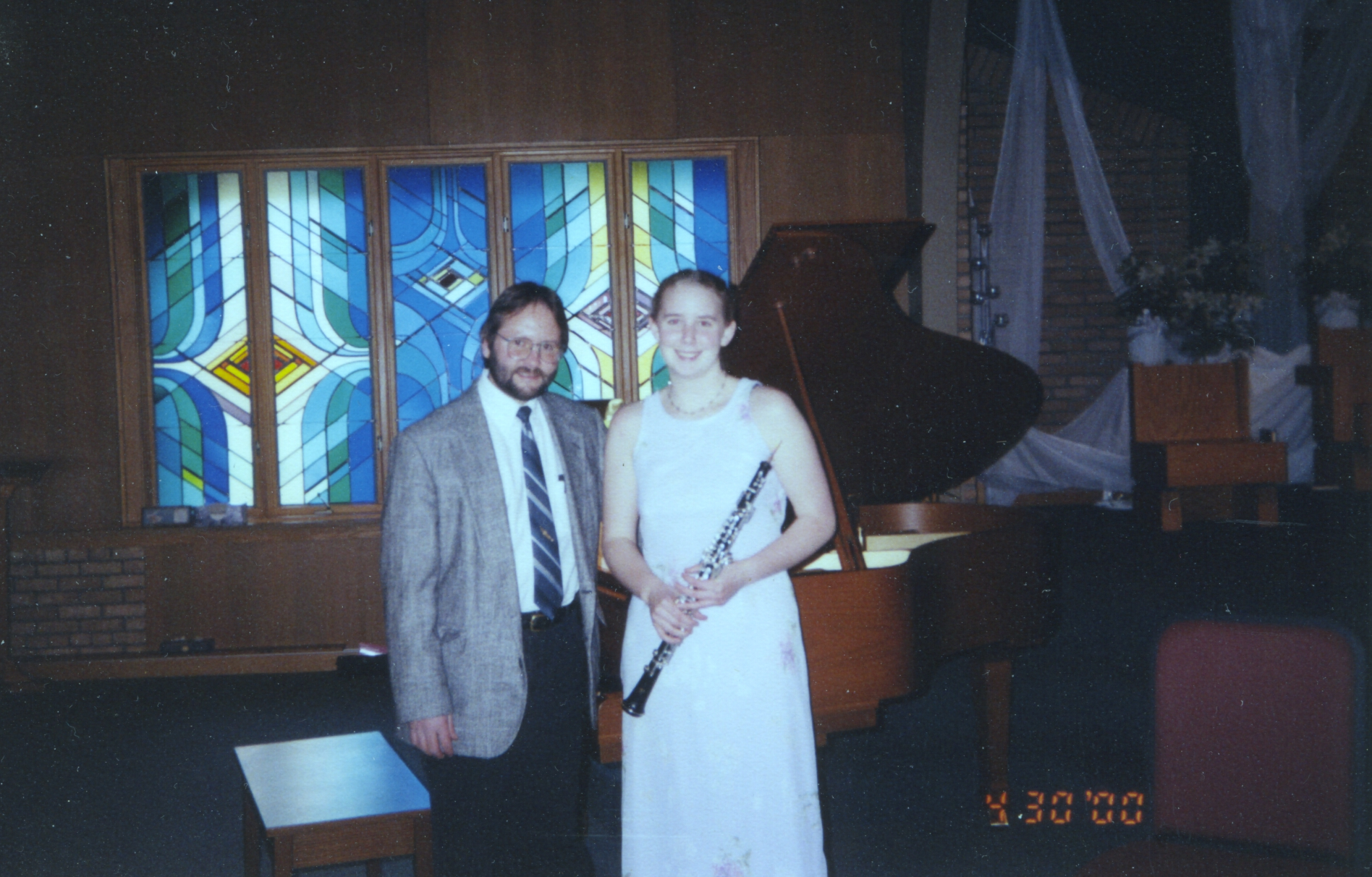 Bruce Clark with an oboe student