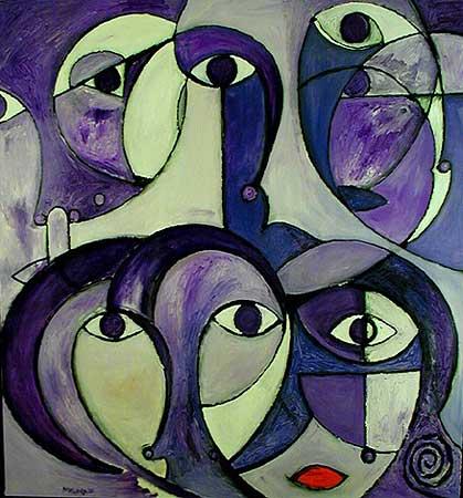 "Purple Something, 2000  30 x 24"". Acrylic on canvas"