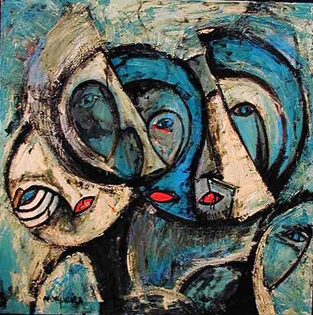 "Self Me, 1999  36 x 36"". Acrylic on canvas"