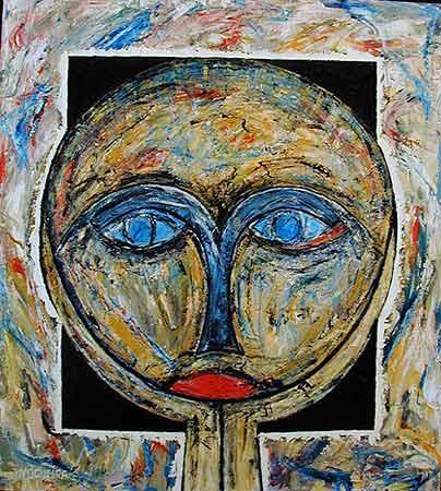 "Moon Dark, 1999  40 x 36"". Acrylic on canvas"