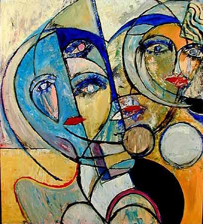 "Lisbon Girls, 1999  40 x 36"". Acrylic on canvas"