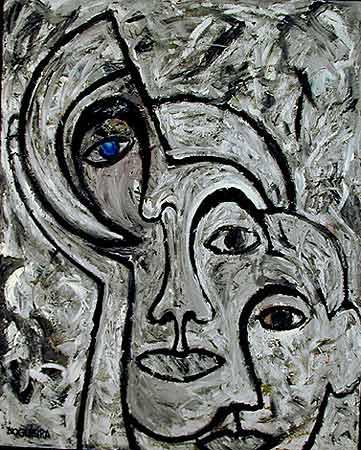 "Blue Eye, 1997. 61 x 49"". Acrylic on canvas"