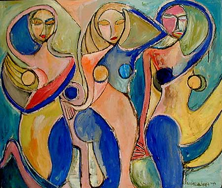 "Rio Girls, 2001  44 x 48"". Acrylic on canvas"
