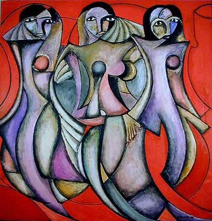 "Three Damas, 2001  72 x 74"". Acrylic on canvas"