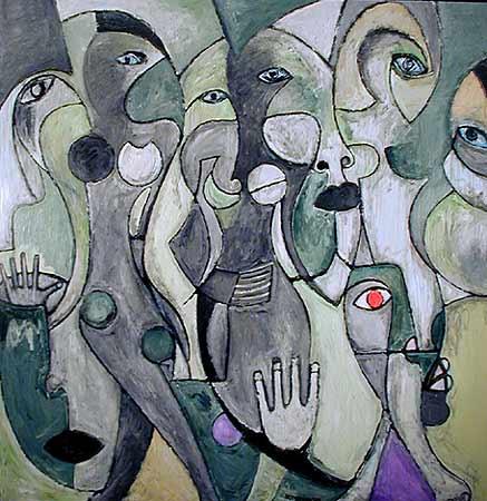 "Red Eye, 2001  72 x 74"". Acrylic on canvas"