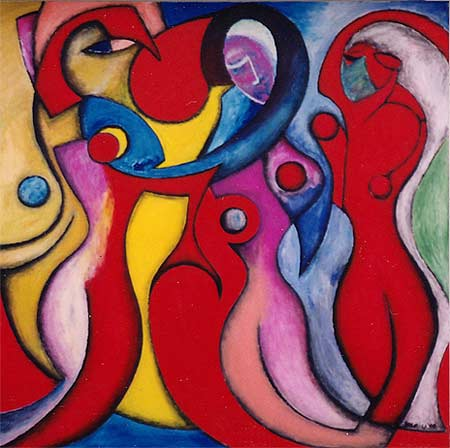 """Red/Pink Women, 2000.  72 x 72"""". Acrylic on canvas"""
