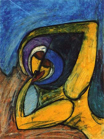 """The Kiss, 2000  30 x 24"""". Pastel on paper"""
